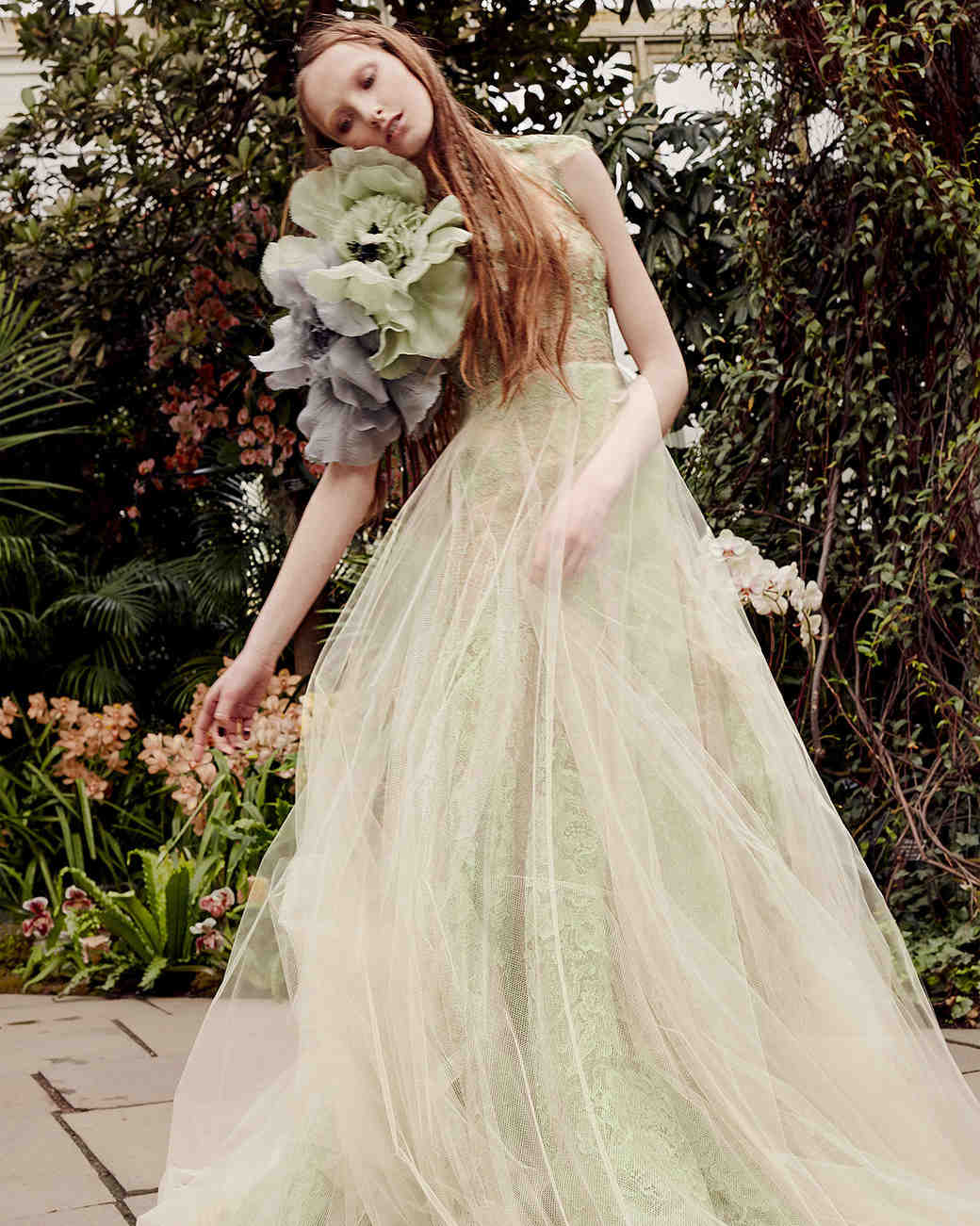 vera wang green sheer overlay wedding dress spring 2020