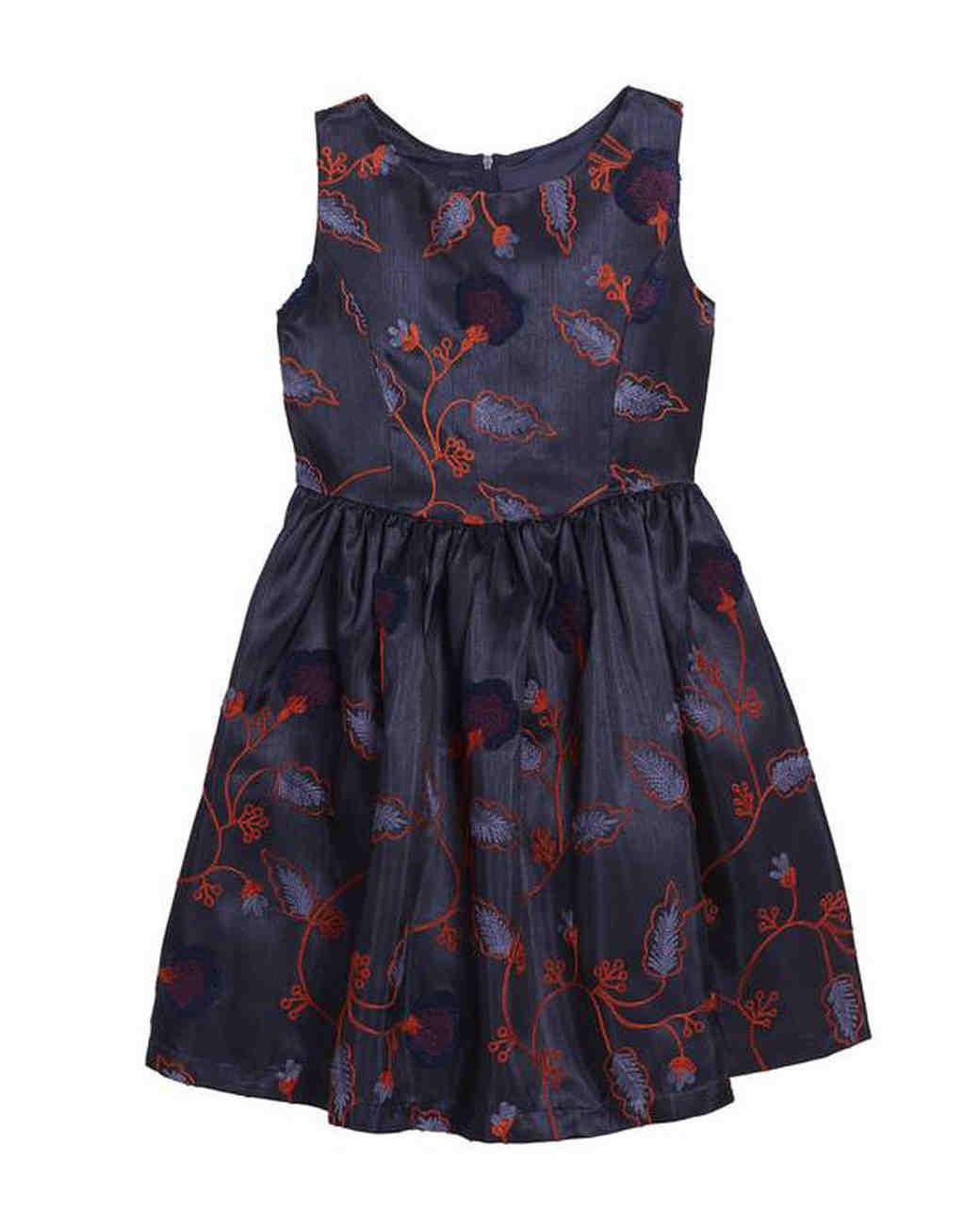 dark blue flower girl dress red detail