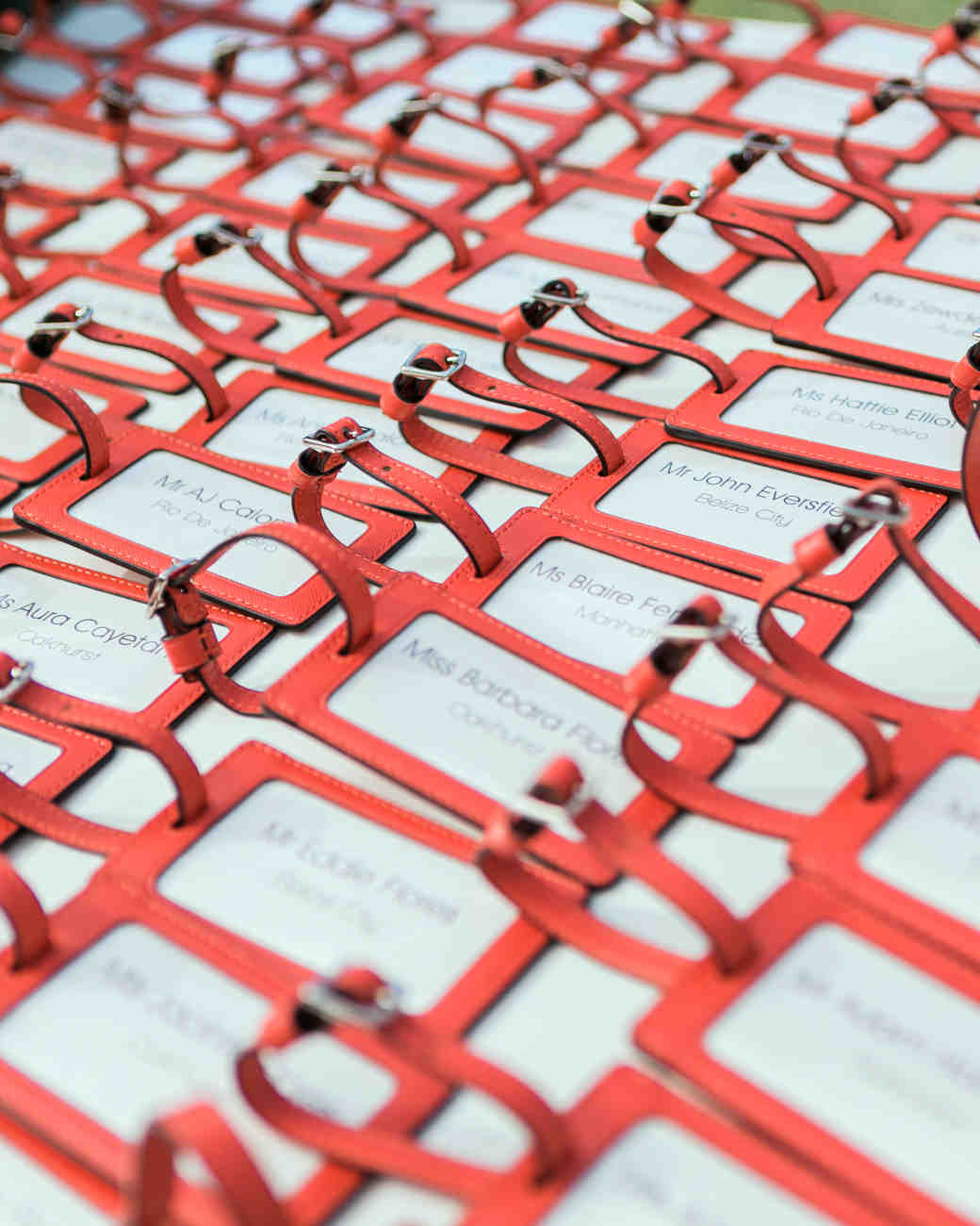 Red Baggage Tag Escort Cards