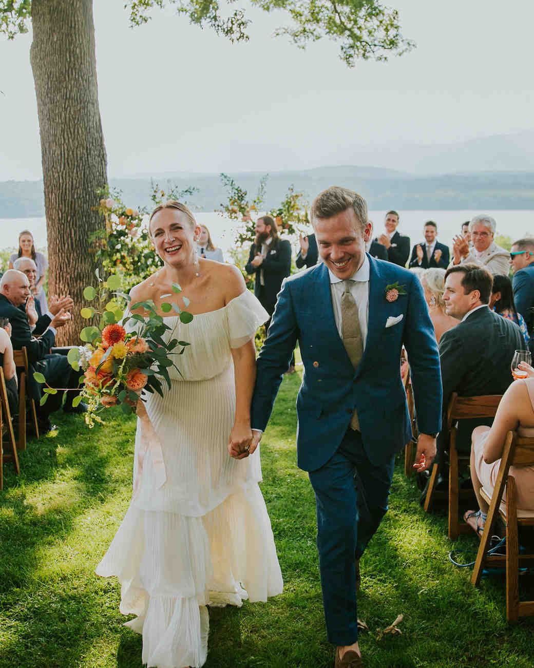 wedding recessional with hudson river in background