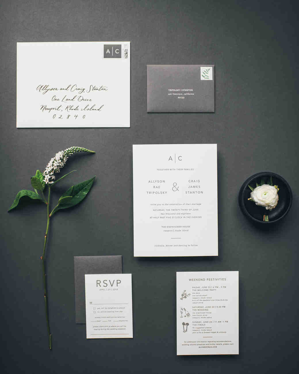 wedding stationery invitation envelope rsvp with flowers