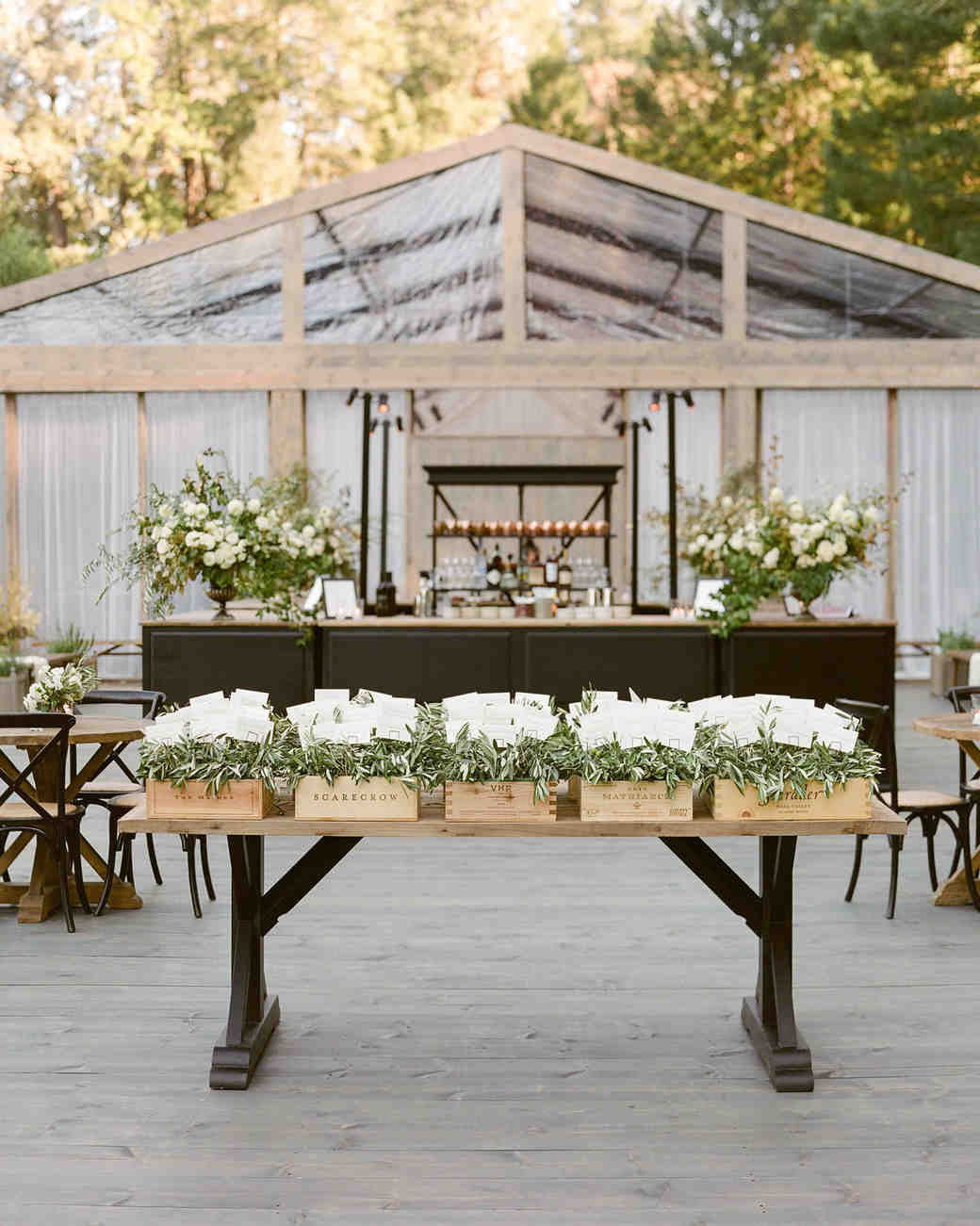 escort card table display outdoor bar tent area