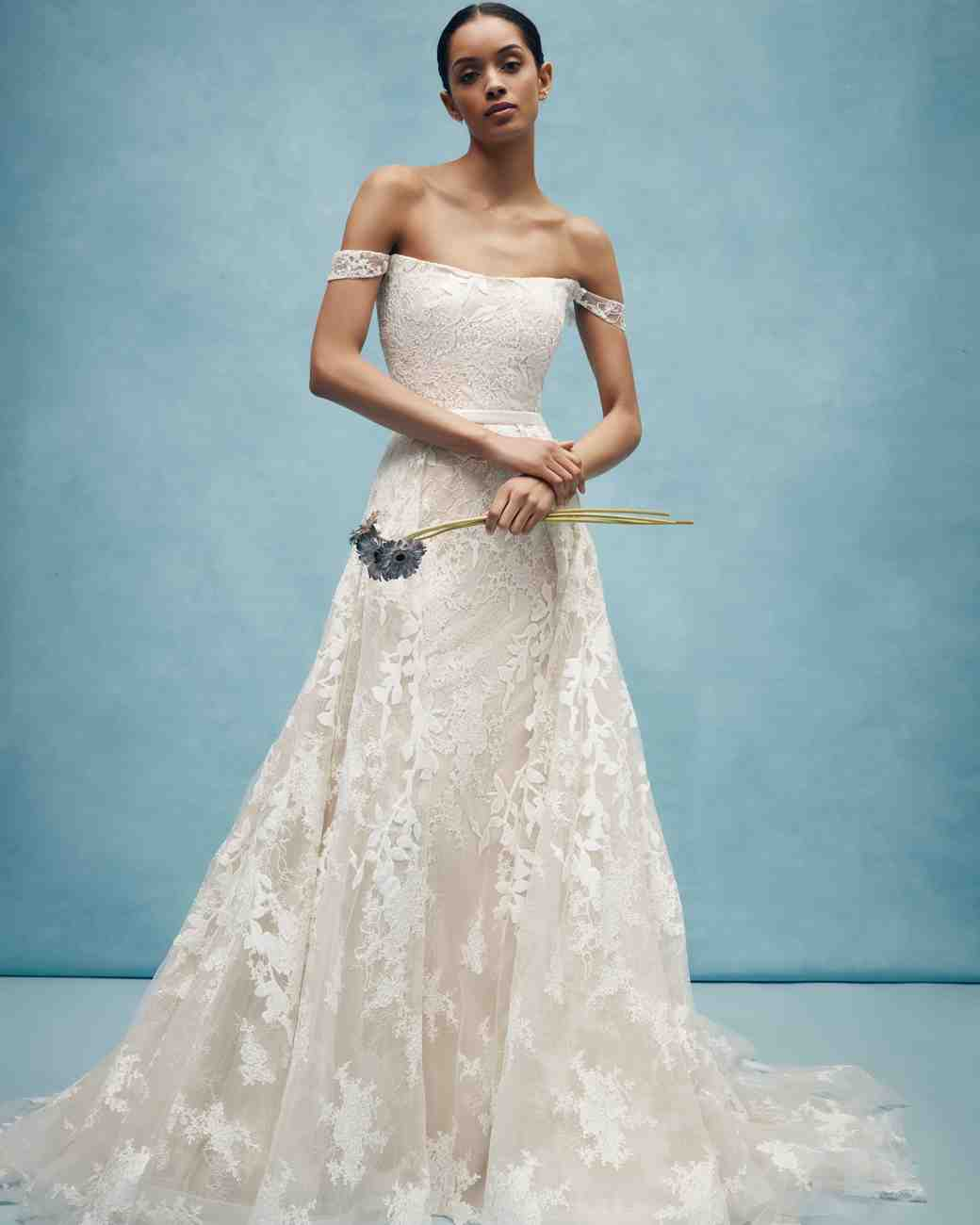 anne barge off the shoulder floral wedding dress spring 2020