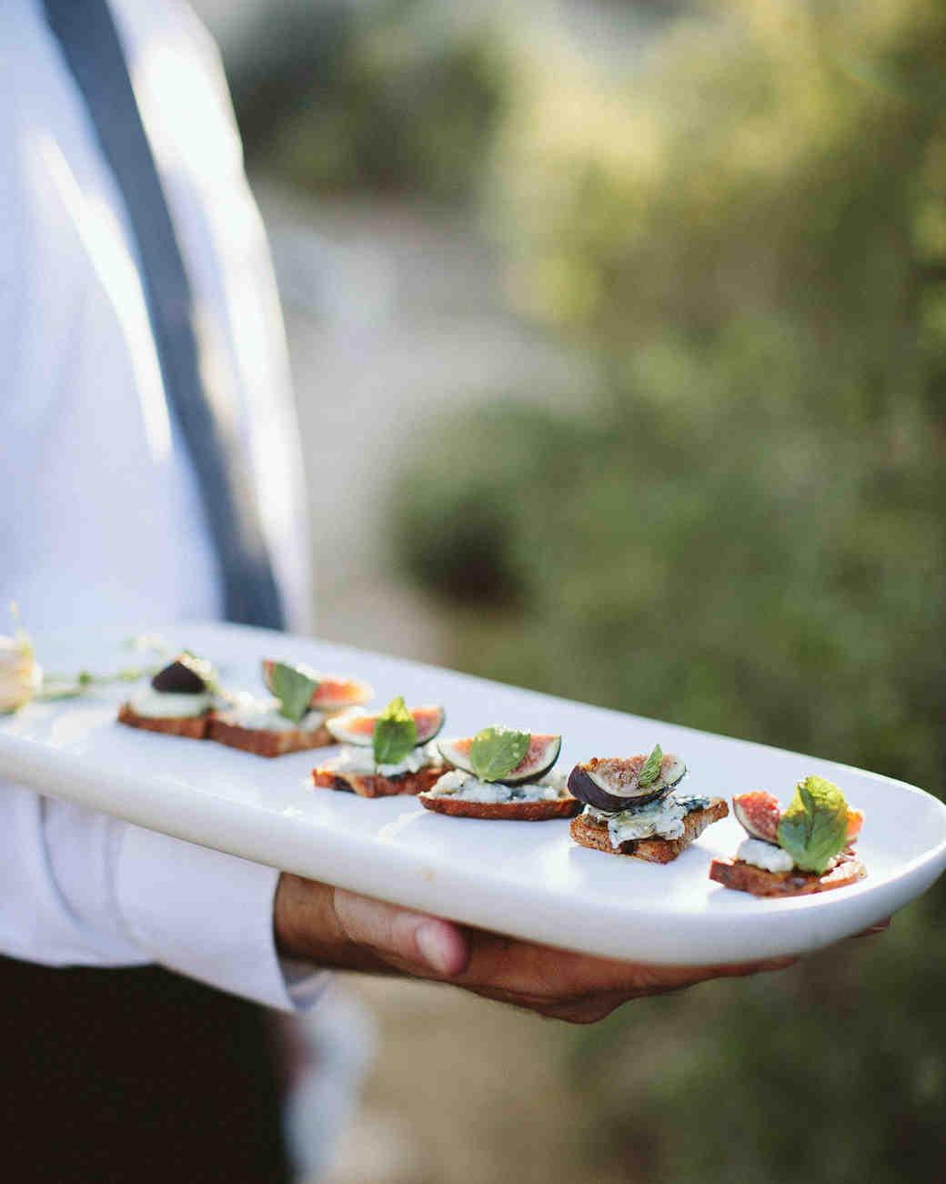 ashley basil wedding appetizers on white tray
