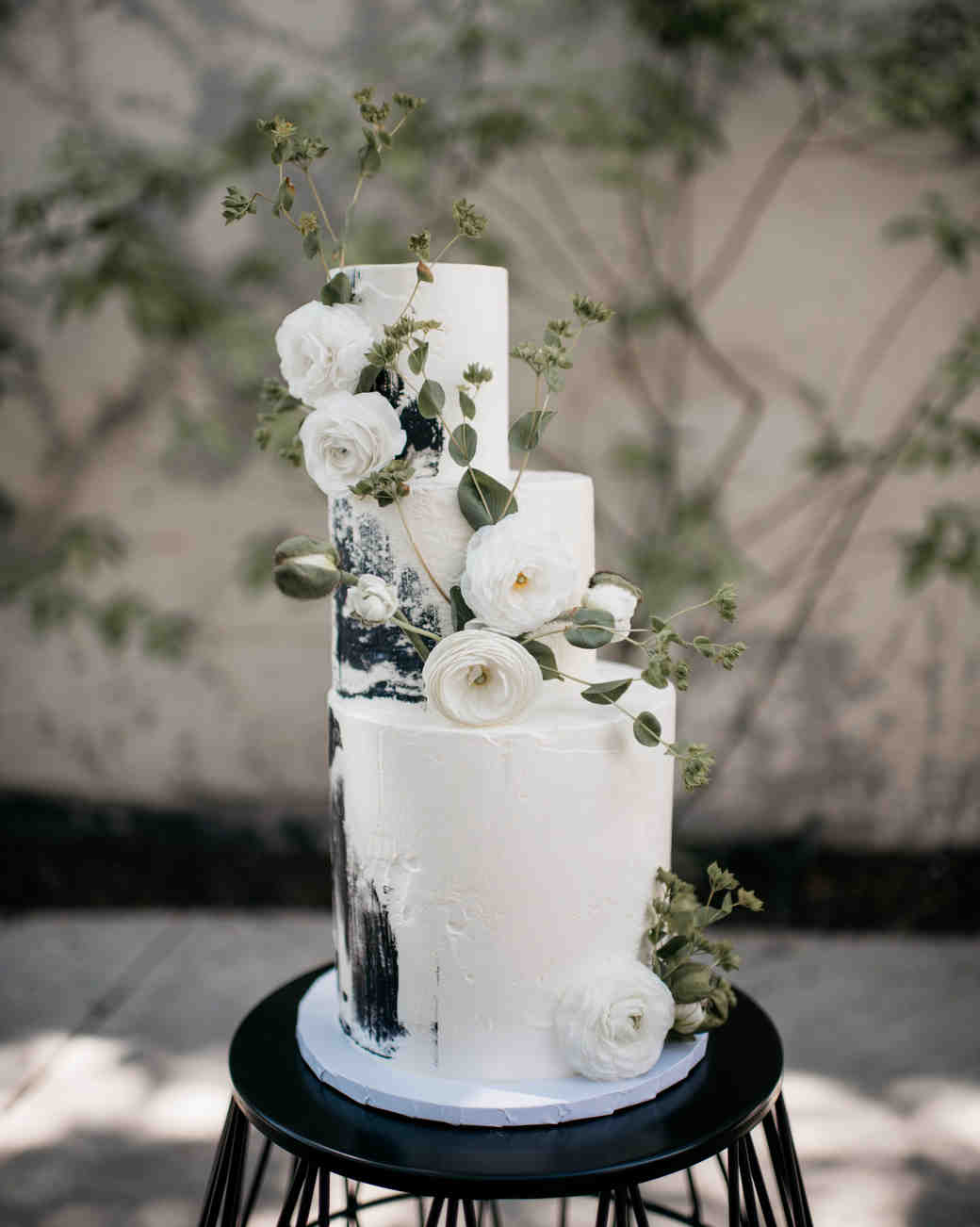 black and white three tiered wedding cake