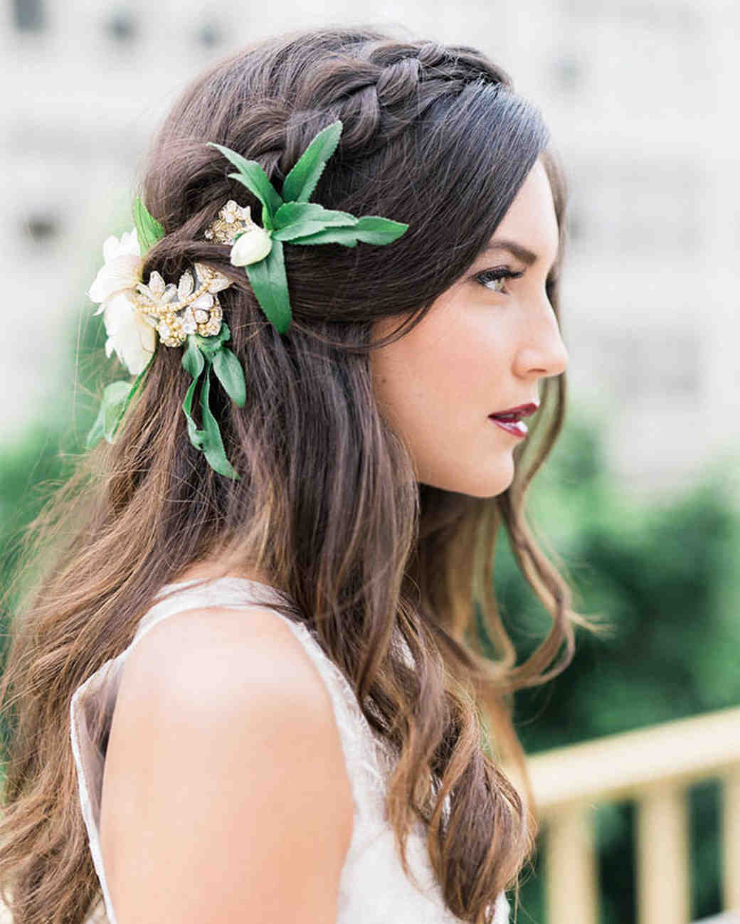 bold lipstick bride flower hair profile
