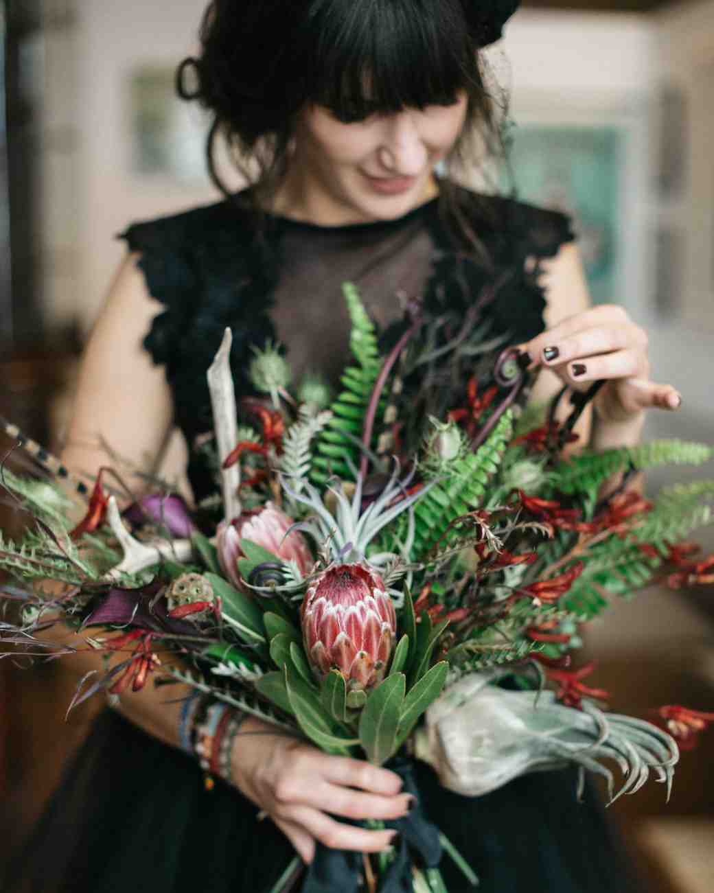 protea fern bouquet