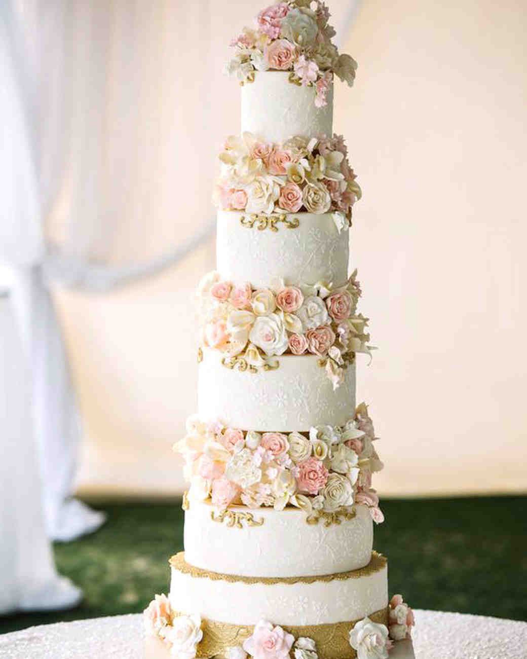 cakes with floral tiers white gold orchid roses