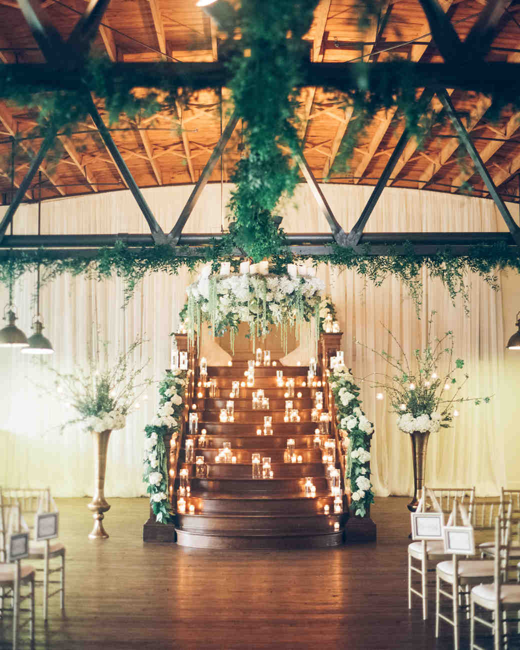 candlelit staircase ceremony altar