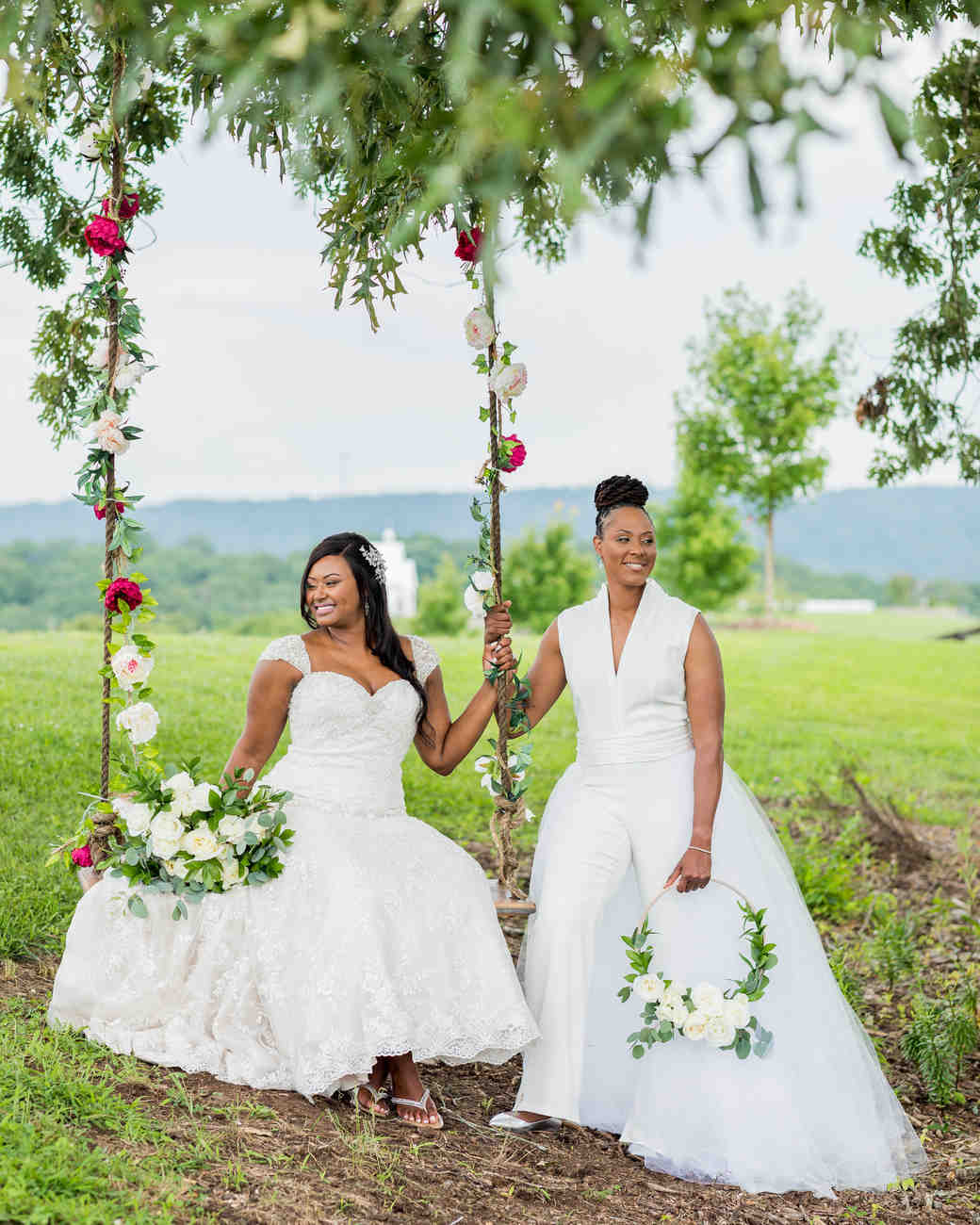 cara chamique wedding brides on swing