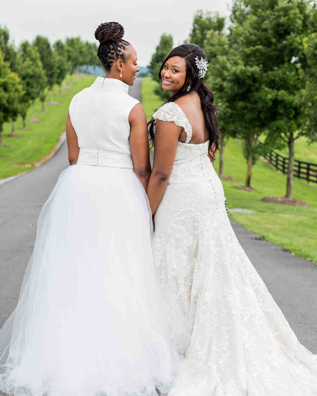 cara chamique wedding brides walking down path