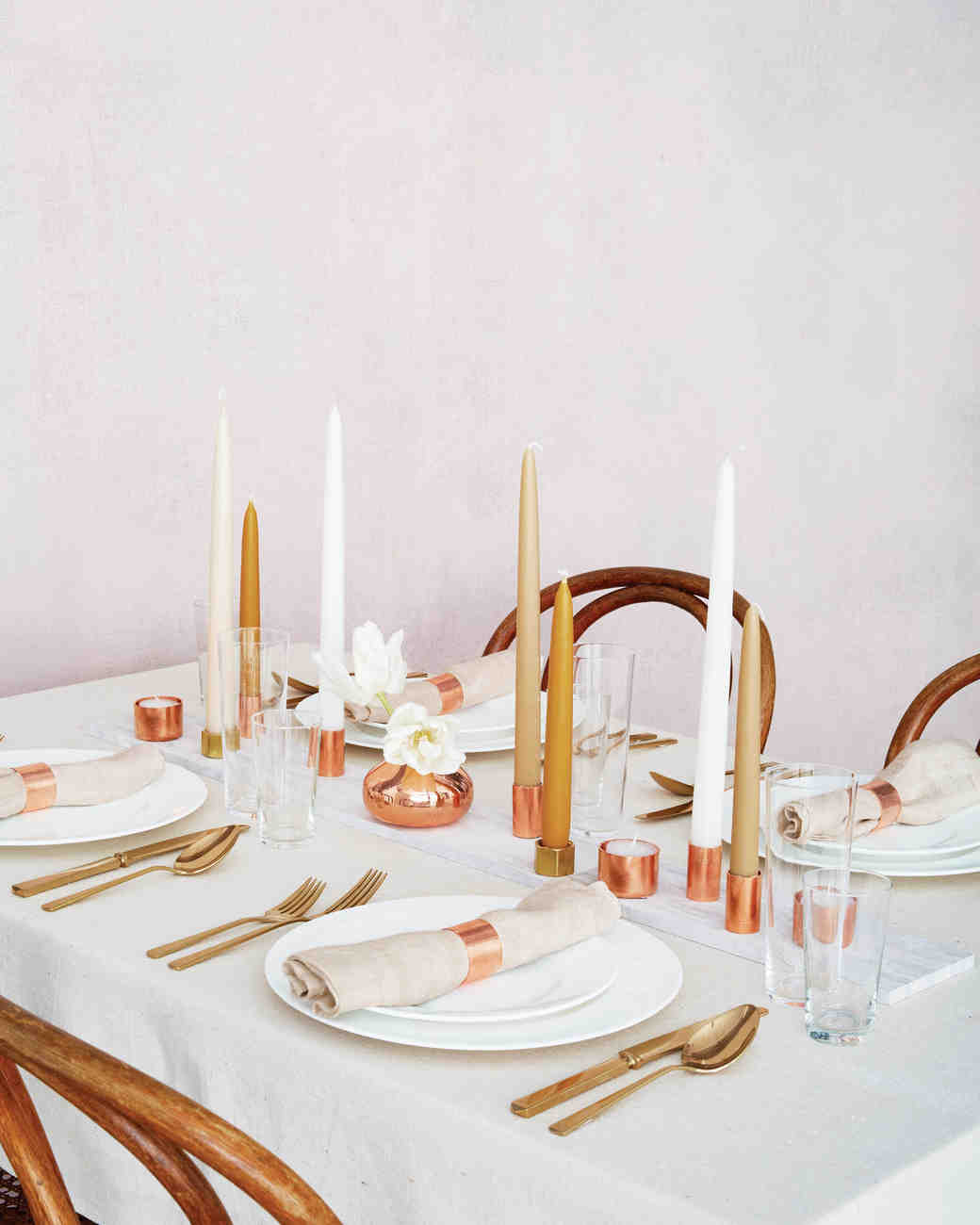 Copper Candle Centerpiece : wedding table settings with candles - pezcame.com