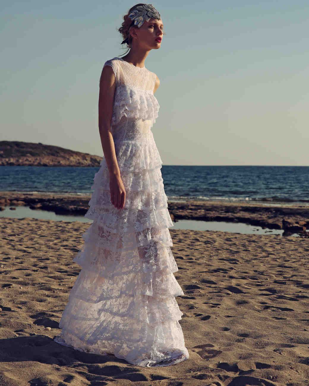 Whimsy Ruffled Lace Wedding Dress