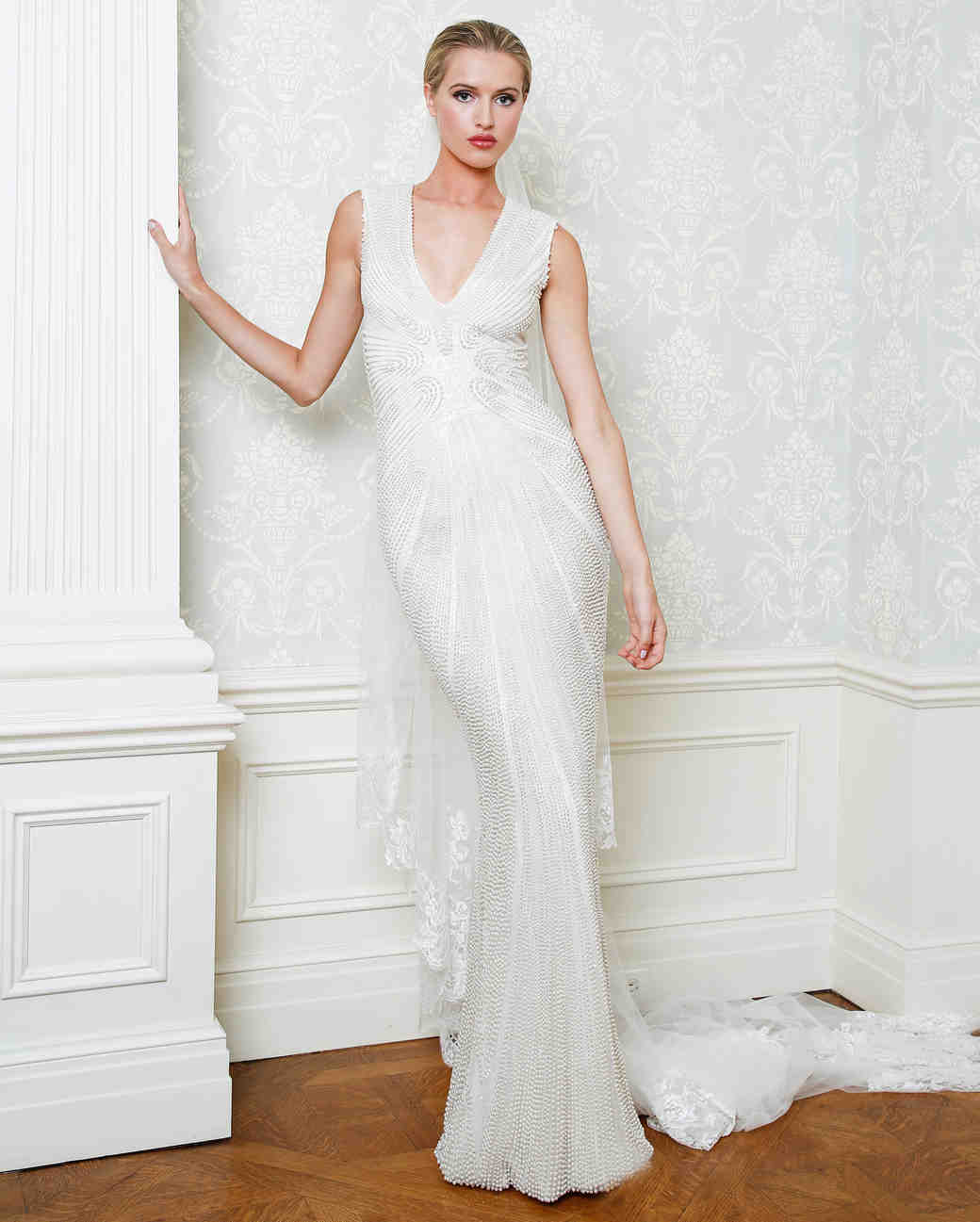 Cristina Ottaviano wedding dress spring 2019 beaded sheath v-neck gown