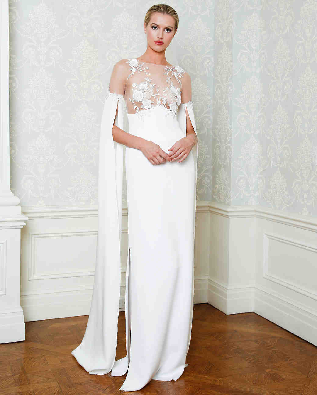 Cristina Ottaviano wedding dress spring 2019 sheer lace top sheath with skirt slit