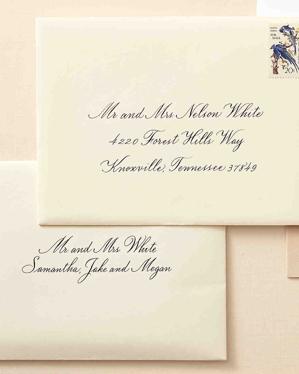 how to address guests on wedding invitation envelopes martha Wedding Invitation Address Inner Envelope to a family with children address inner envelope wedding invitation