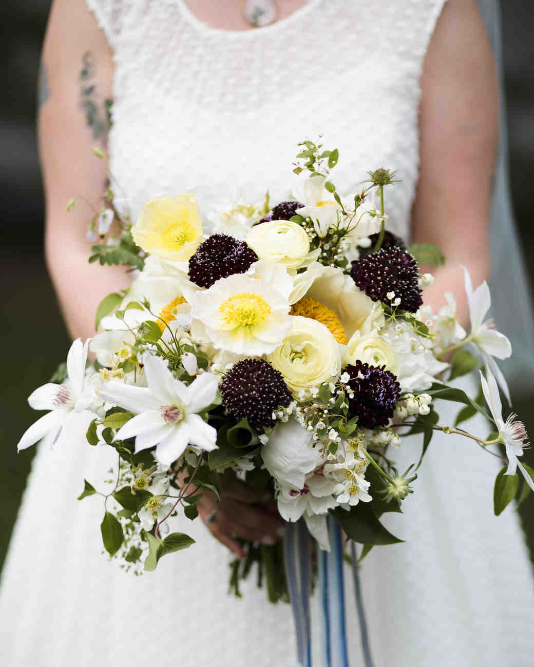 Dark Purple and Yellow Wedding Bouquet