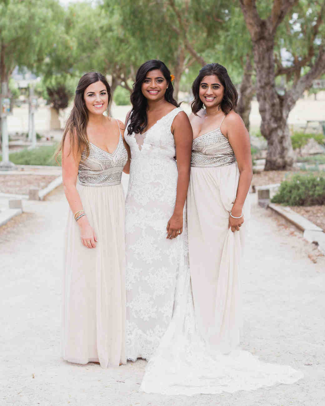bridesmaid portrait in white dresses
