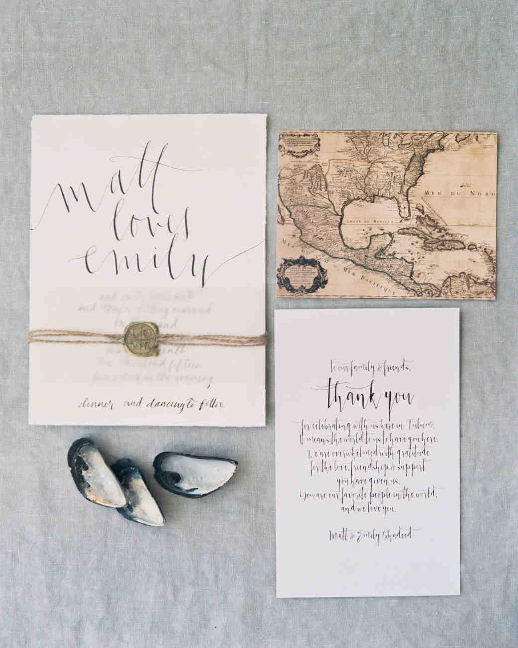 map inspired wedding stationary