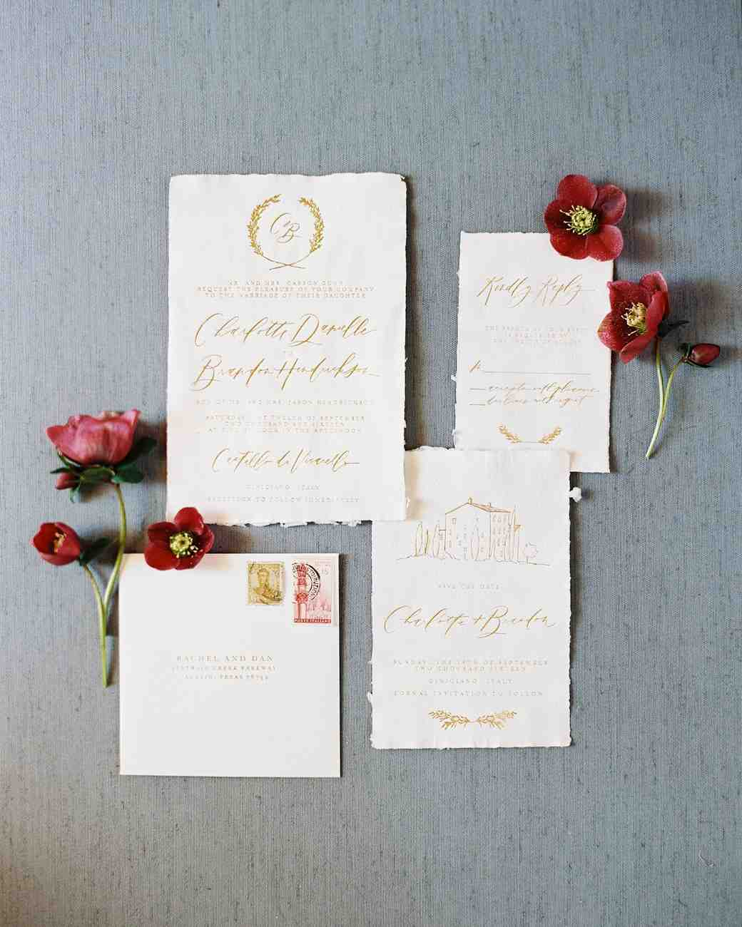 Simple and elegant gold calligraphy wedding invitation suite