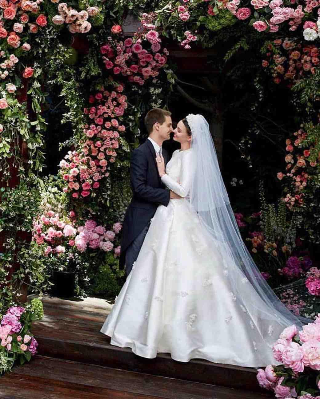Miranda Kerr and Evan Spiegel at wedding