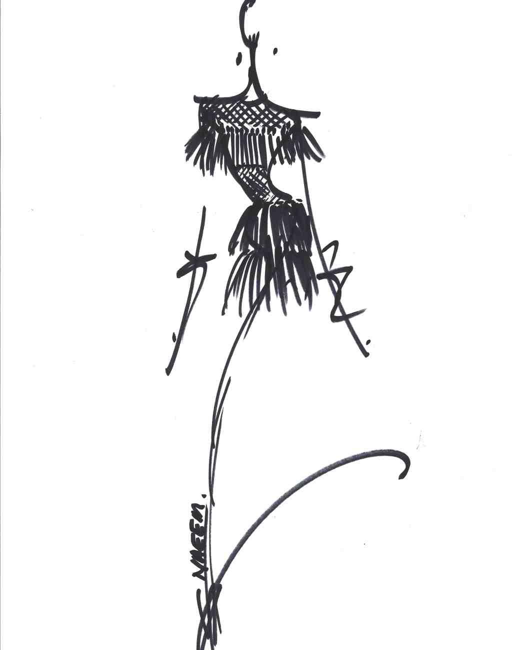 Naeem Khan Dress Sketch