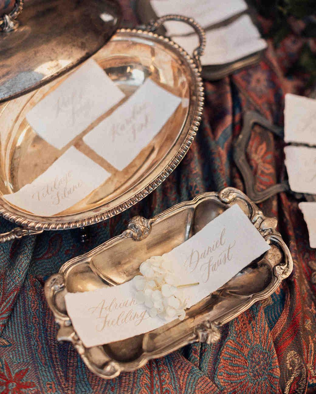 natalie paul wedding escort cards in metal dishes