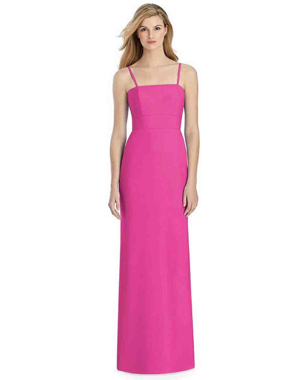 pink sheath bridesmaid spaghetti strap dress