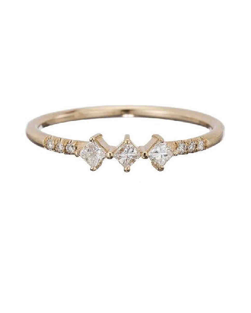 princess cut ring gold three diamonds jennie kwon