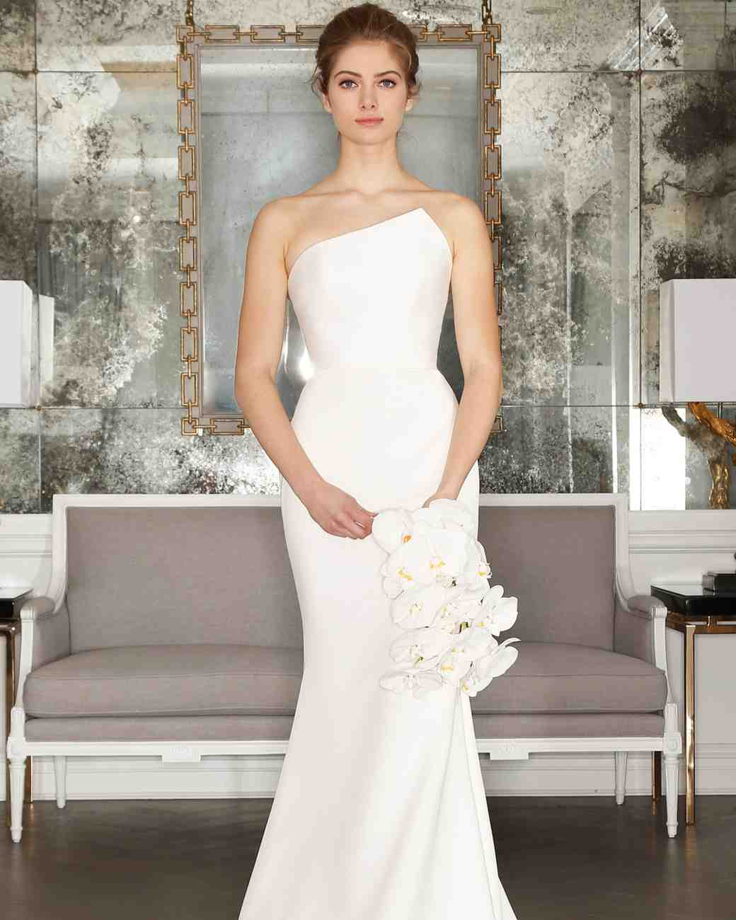 Simple Romona Keveza Wedding Dress with Asymmetrical Neckline