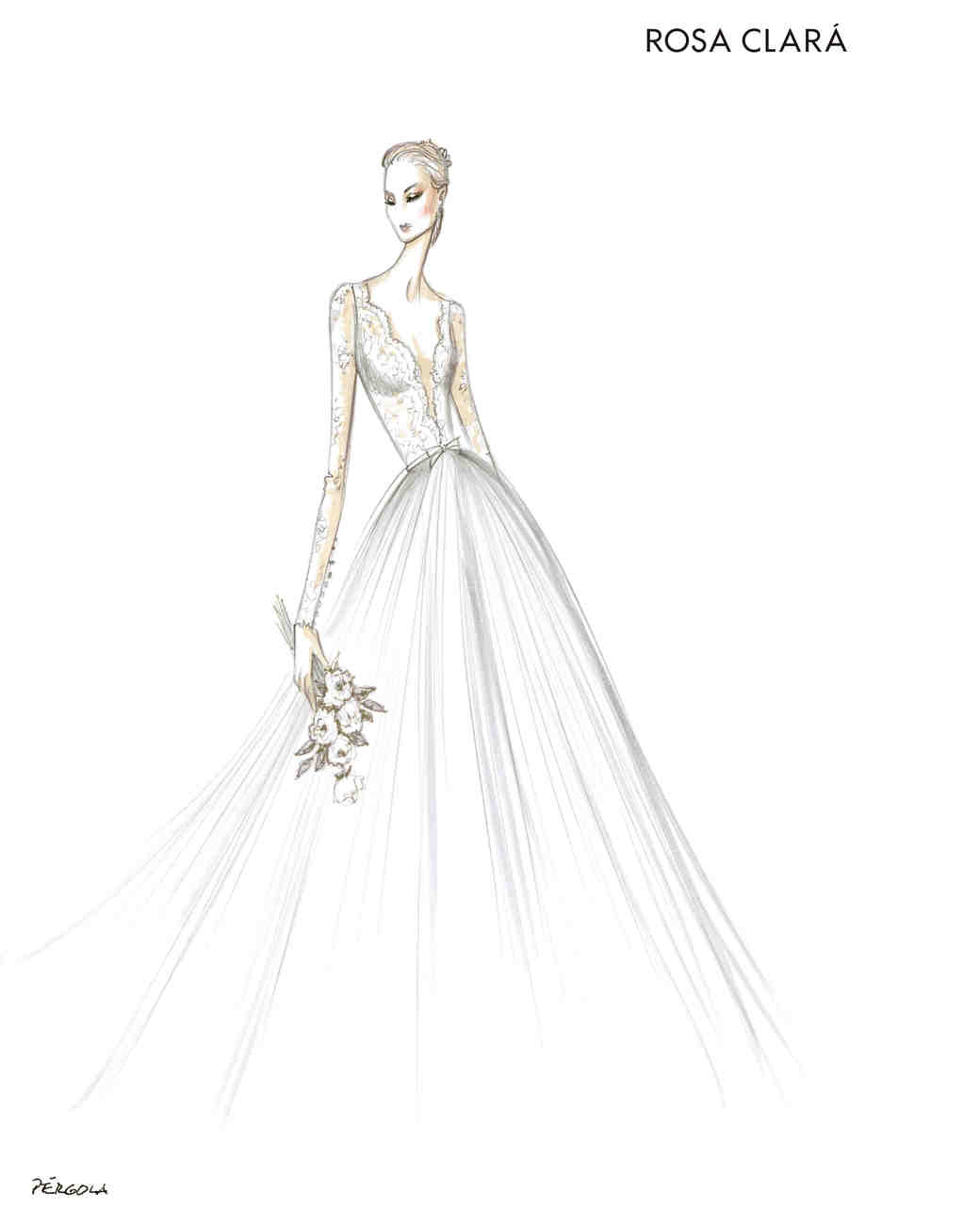 rosa clara wedding dress sketch