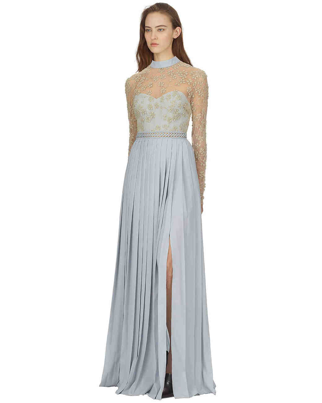 self portrait floral embroiders baby blue maxi dress