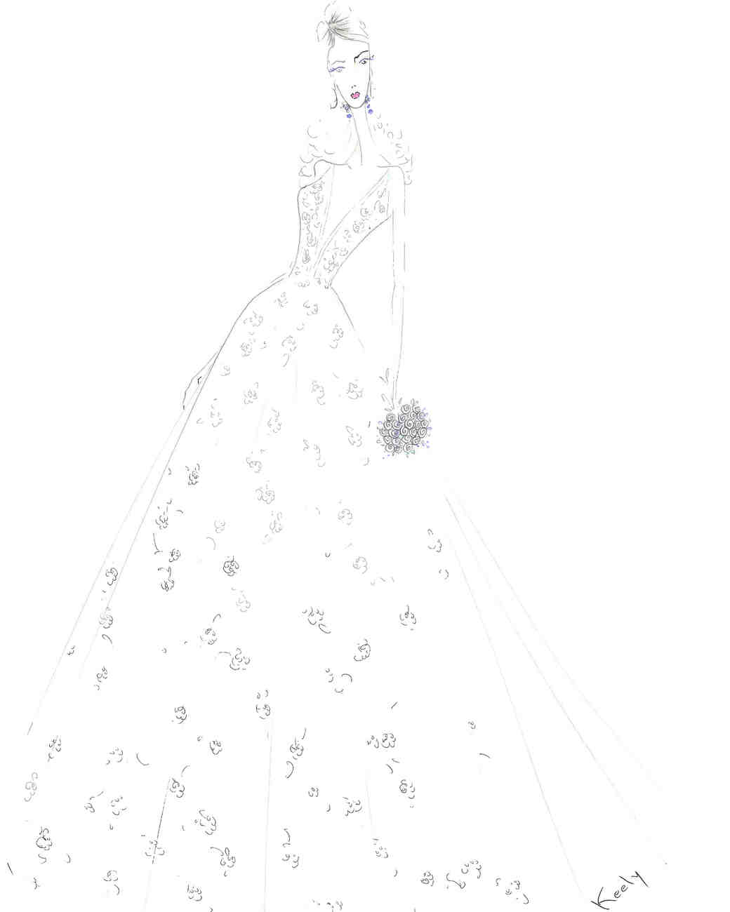 tara keely wedding dress sketch