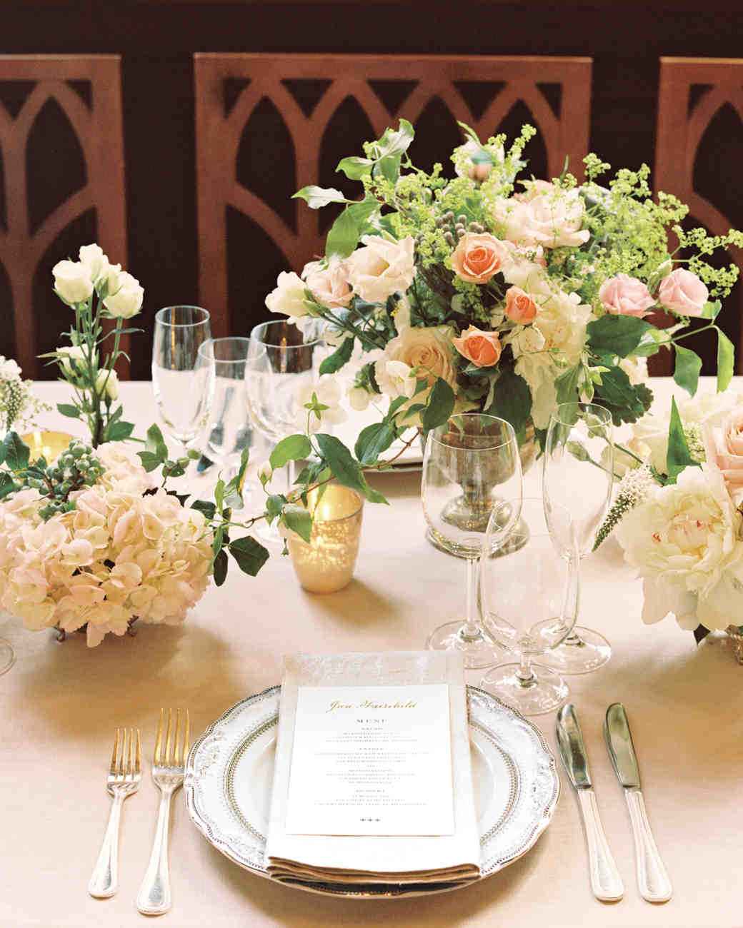 White, Pink, and Gold Table Setting