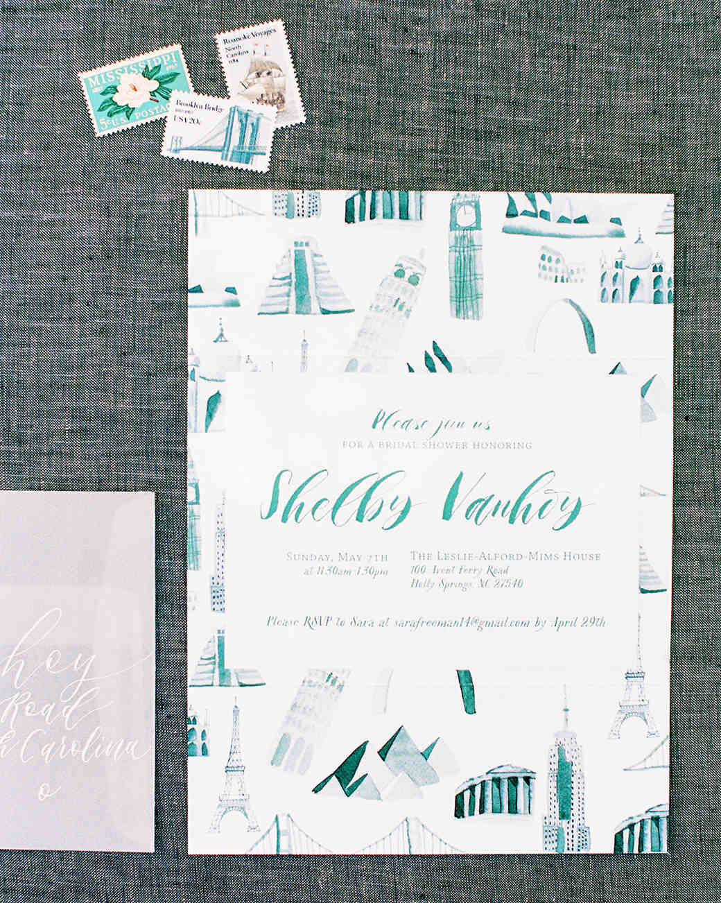 wedding invitation featuring different landmarks