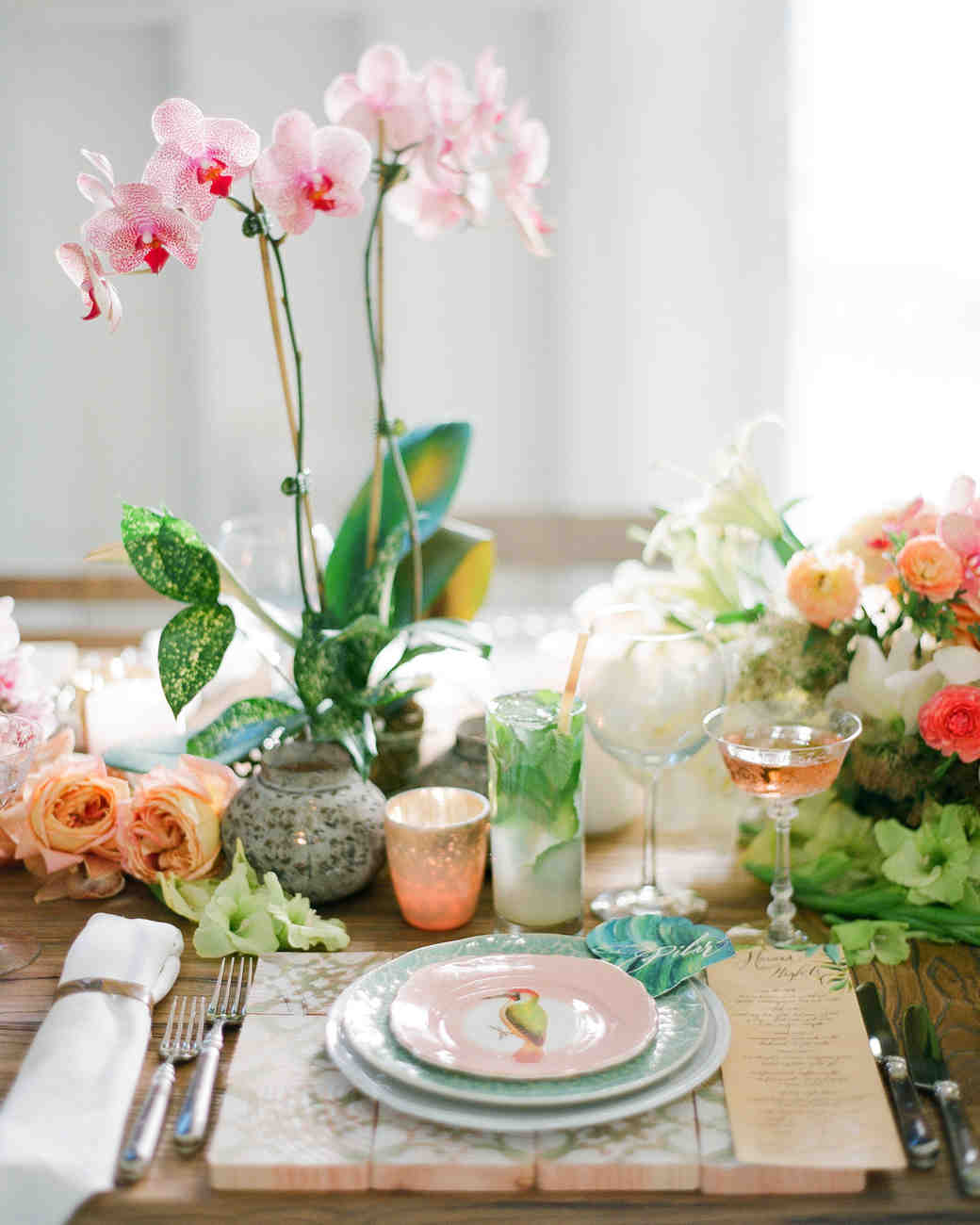 Tropical Place Setting with Orchids and Patterned Plates & Island Time: 33 Tropical Wedding Ideas We Love   Martha Stewart Weddings