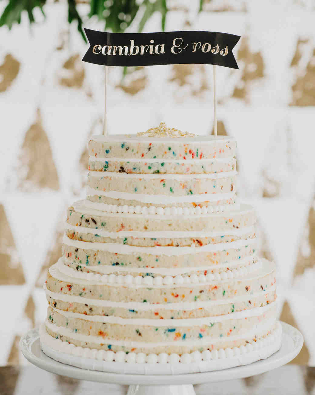 naked funfetti wedding cake