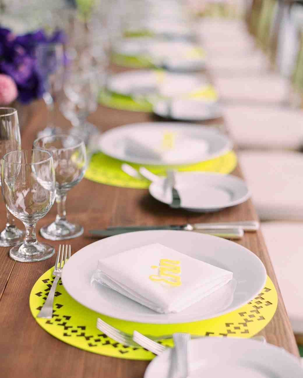 neon purple yellow reception table