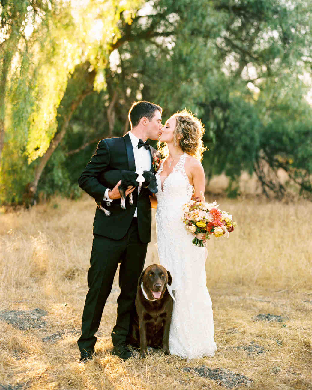 bride groom kiss outdoors posing with dogs