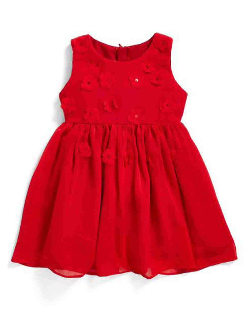 red floral flower girl dress