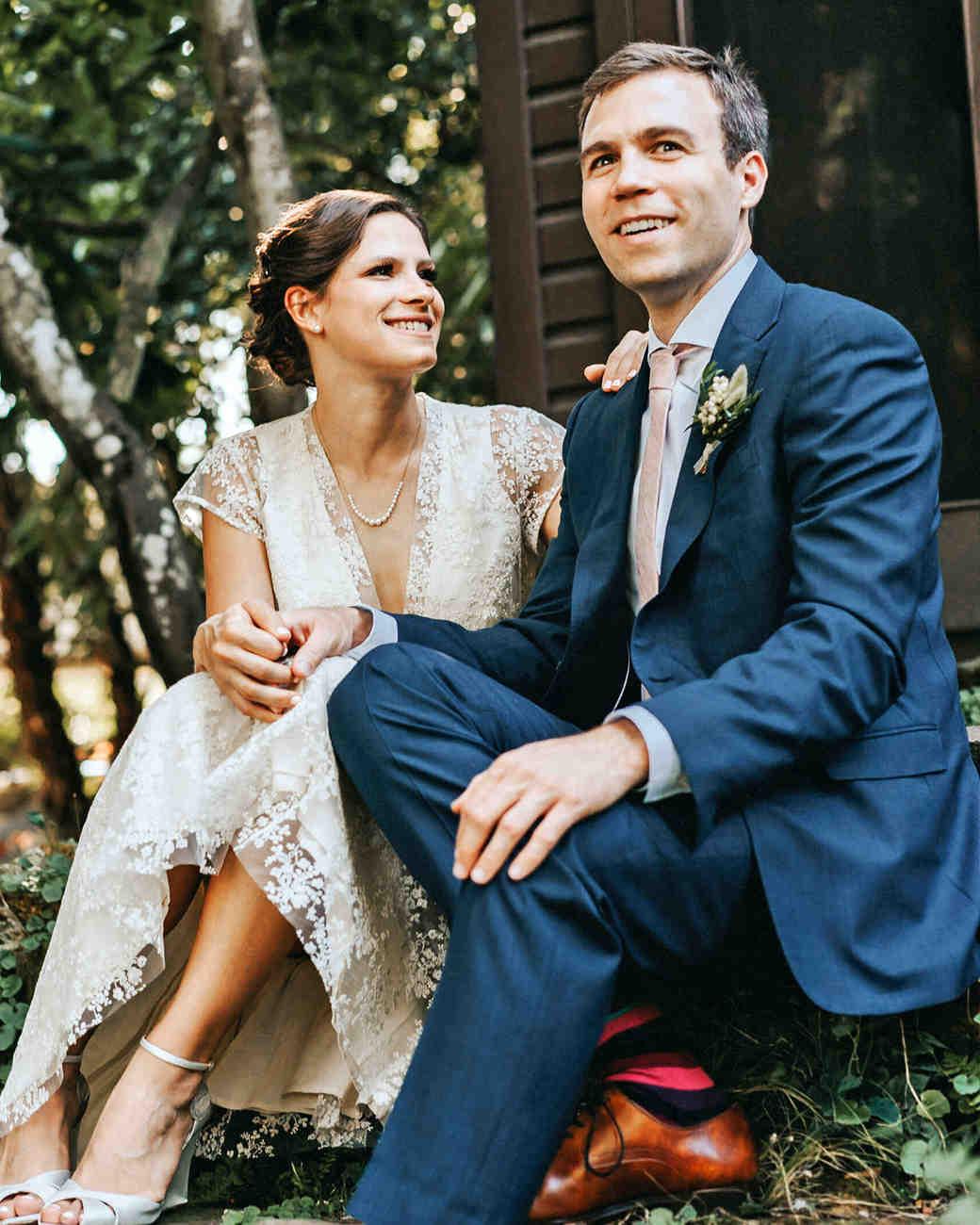 amy nick wedding couple sit