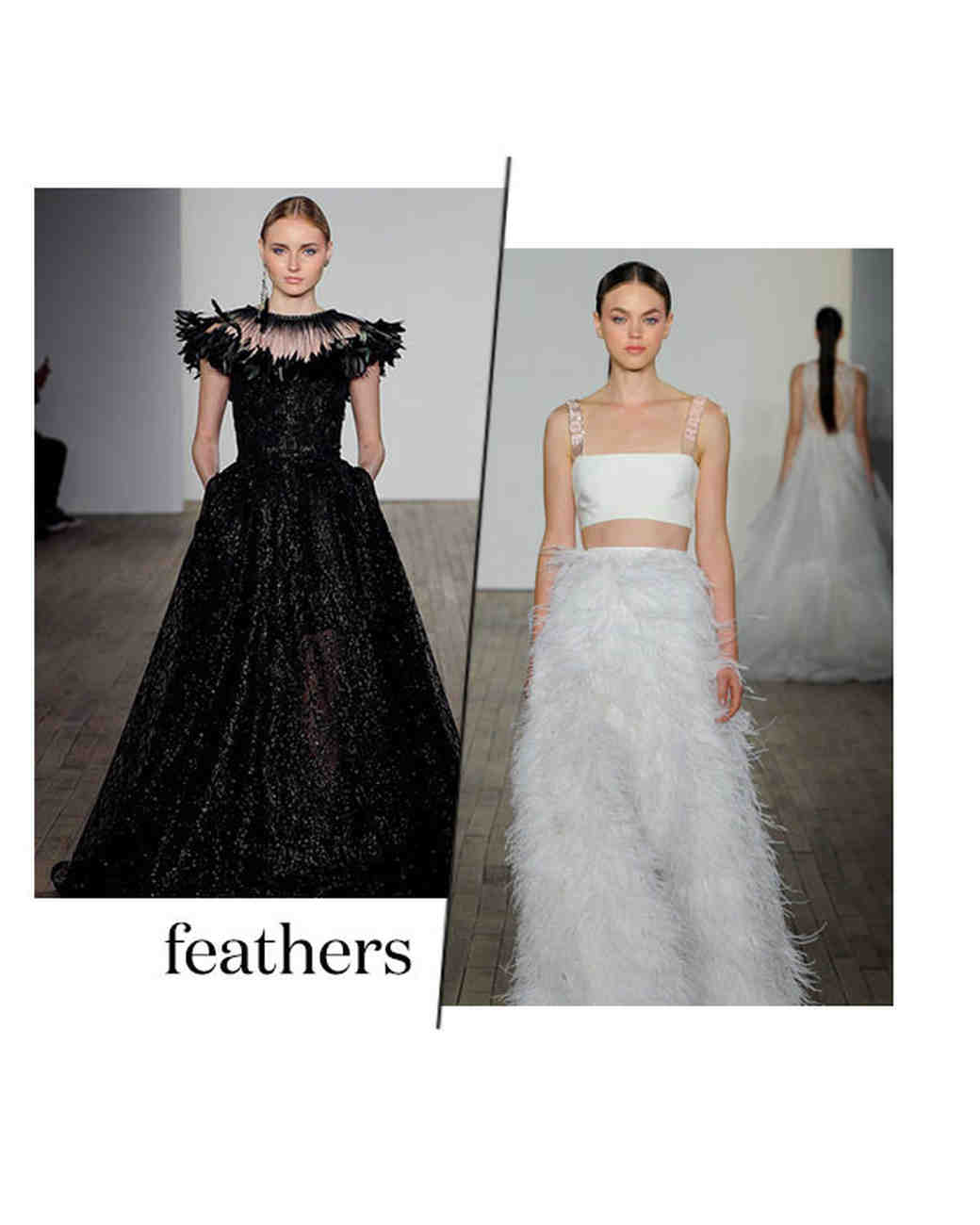 fall 2019 bridal fashion week trends feathers