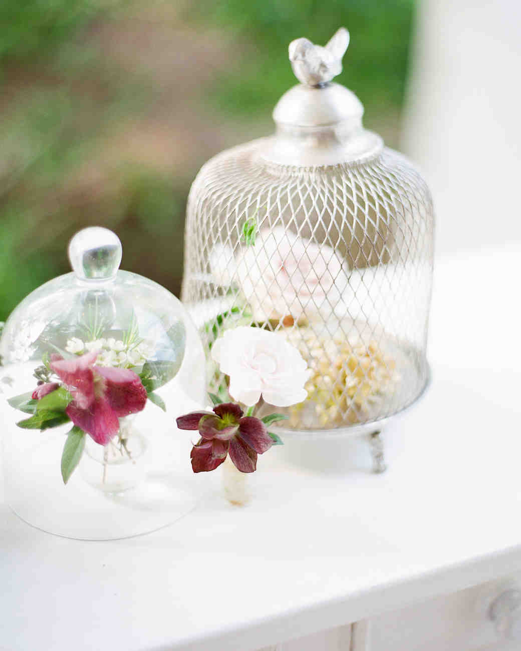 cloches flower centerpieces