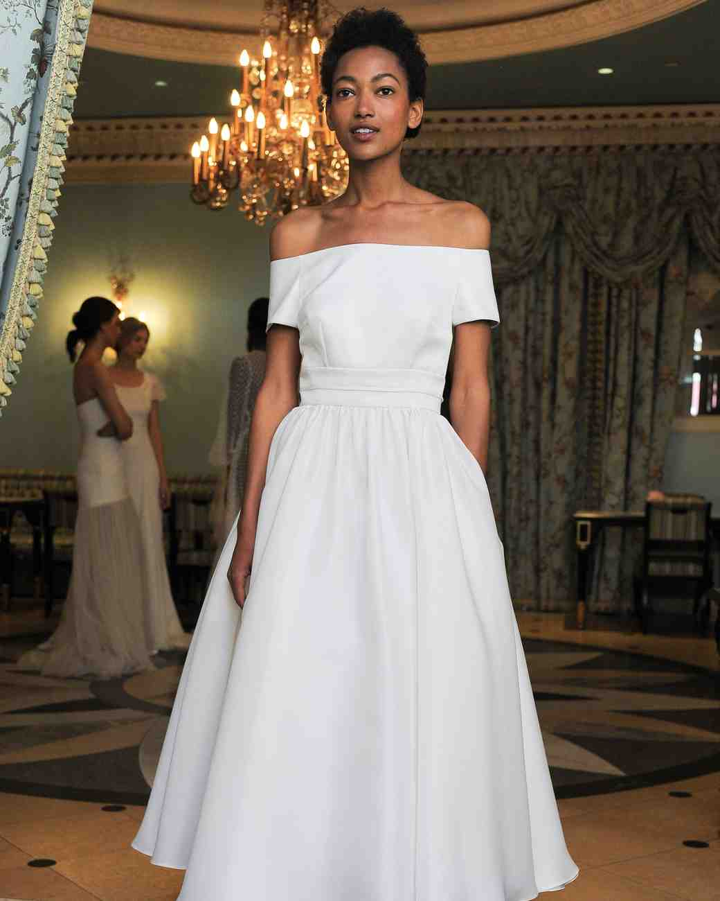 Simple Off-the-Shoulder Wedding Dress with Pockets