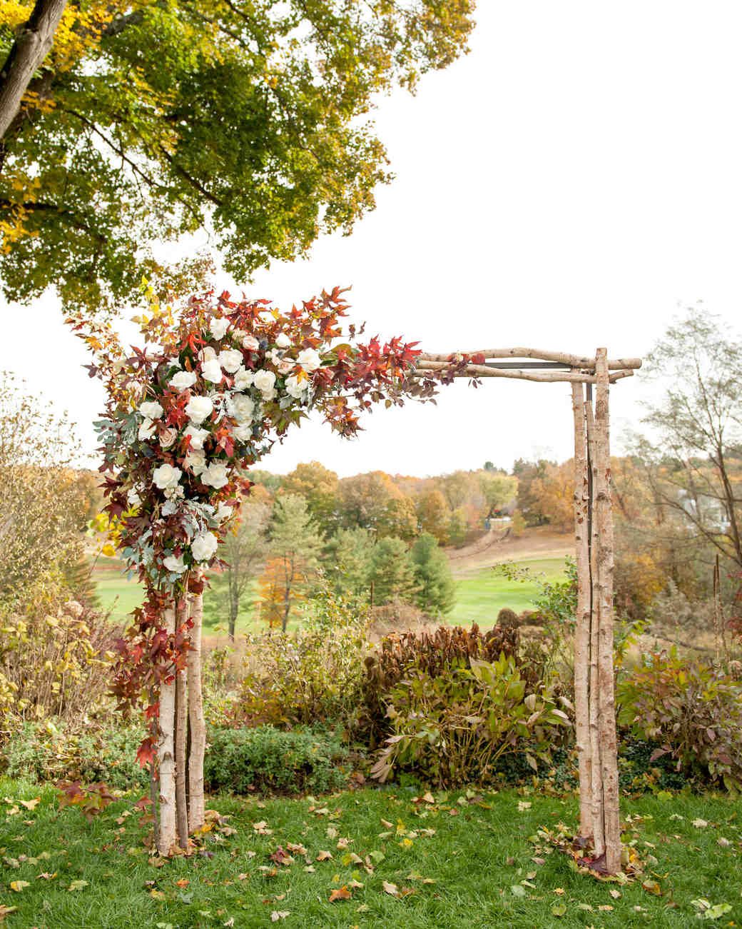 Fall wedding arch