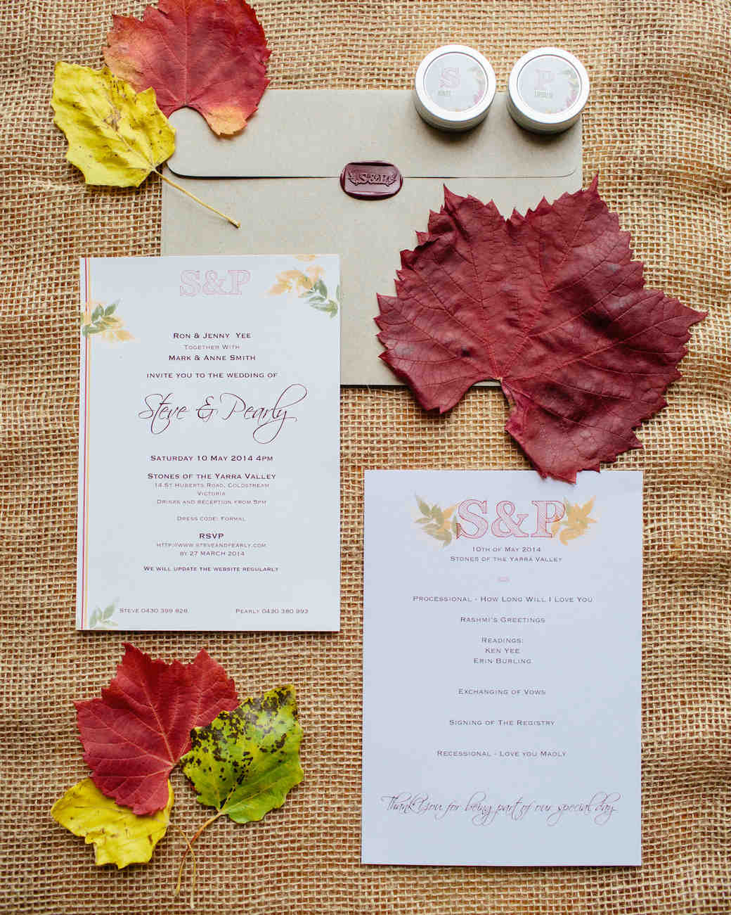 37 Fall Wedding Invitations from Real Weddings Martha Stewart Weddings
