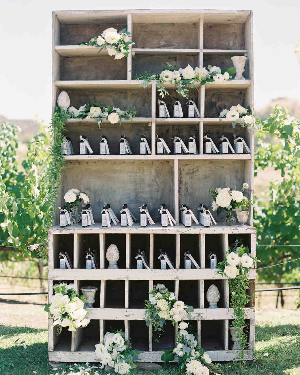 favor display with floral arrangement