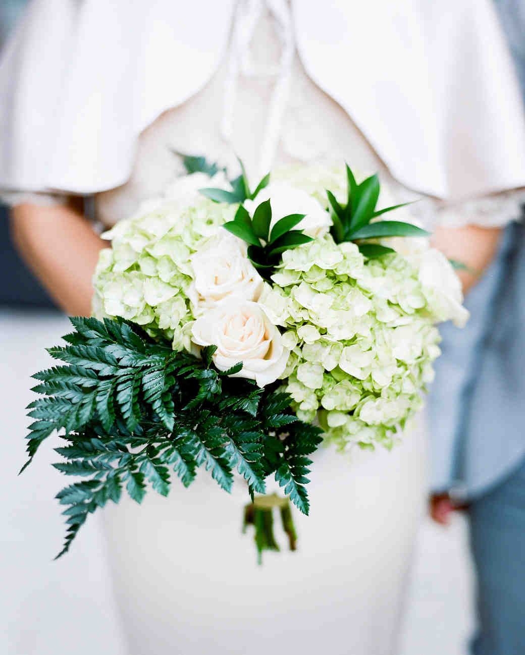 Fern Wedding Bouquet with Hydrangeas