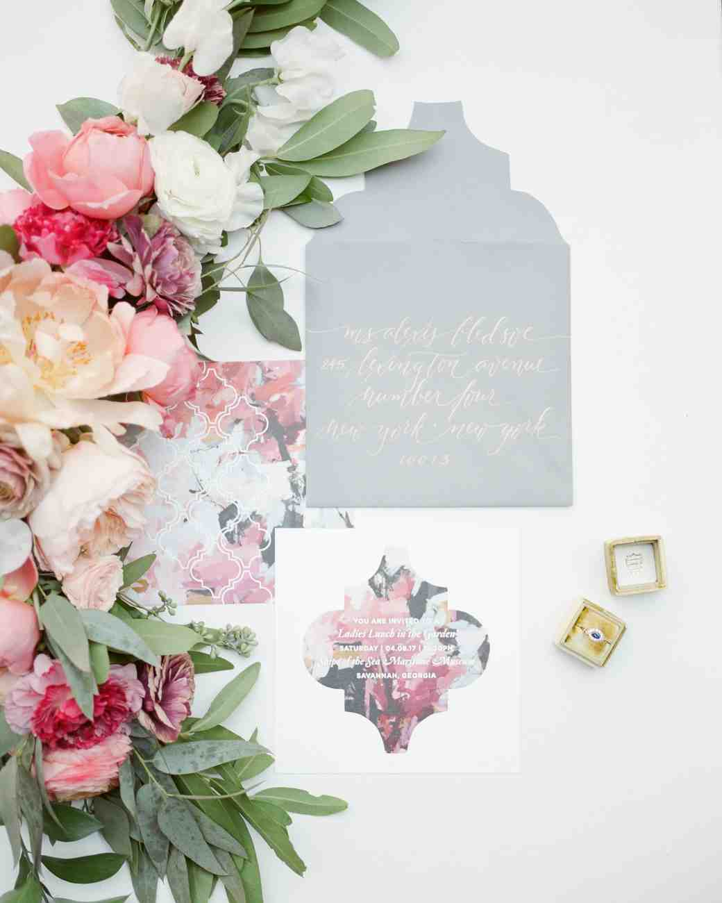 Gray and pink floral invitation suite with bright pink floral garland