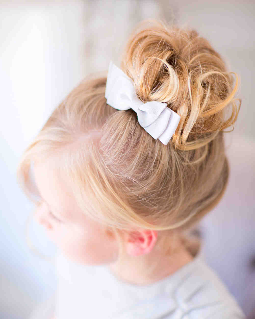 Flower Girl Bun Hairstyle High Curly Bun with Bow